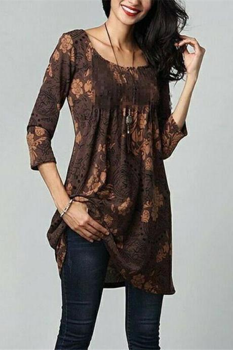 Women Cotton Summer Gypsy Baggy Tunic Top Shirt Long Sleeve Plus Size Blouse brow
