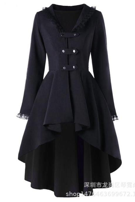 Vintage Victorian Women Lady Steampunk Swallow Tail Goth Long Trench Coat Jacket black