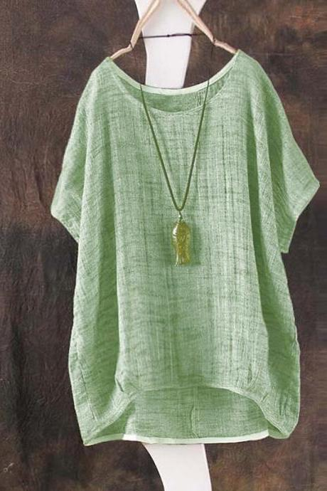 Vintage Womens Ladies Casual Long Sleeve Baggy Cotton Linen T-Shirt Tops Blouse green