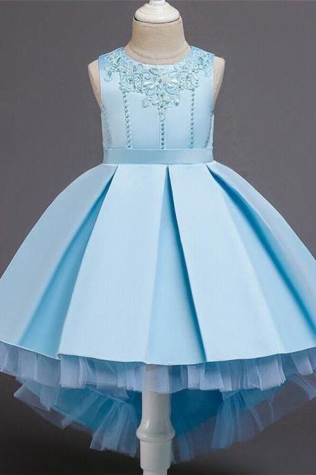 Baby Kids Flower Girls Princess Dress Party Wedding Bridesmaid Pageant Bead Gown blue