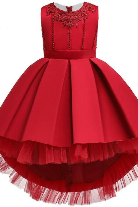 Baby Kids Flower Girls Princess Dress Party Wedding Bridesmaid Pageant Bead Gown red