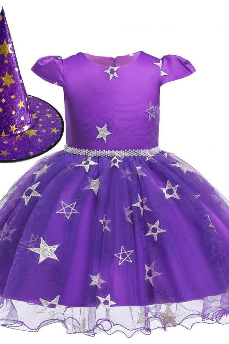 Halloween Kids Girls Witch Dress+Hat Cosplay Fancy Party Princess Dresses Outfit purple