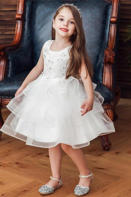 Baby Princess Tulle Tutu Dress Kids Girls Birthday Wedding Bridesmaid Dresses white