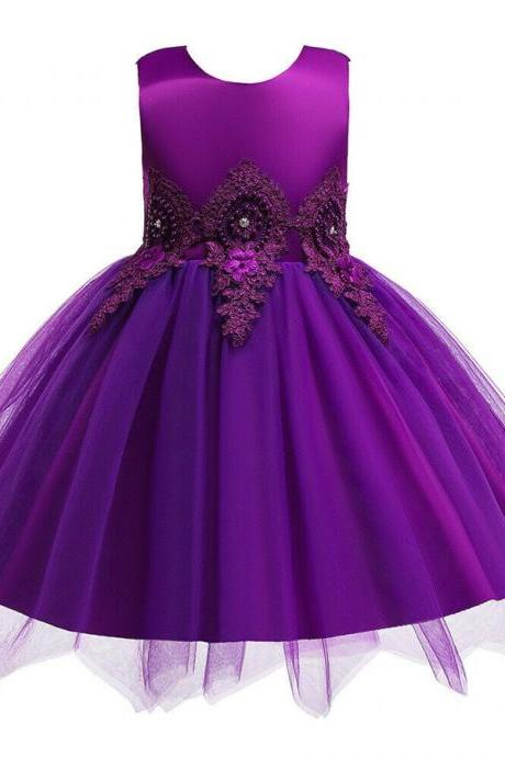 Flower Girl Pageant Wedding Bridesmaid Birthday Party Baby Kids Lace Tulle Dress purple