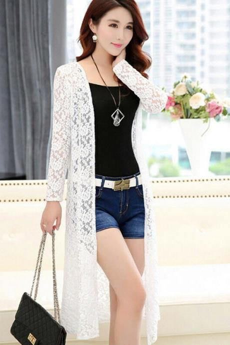 Women Bikini Cover-up Chiffon Lace Summer Cardigan Sun Protection Beach Coats white