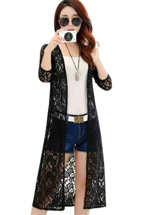 Women Bikini Cover-up Chiffon Lace Summer Cardigan Sun Protection Beach Coats black