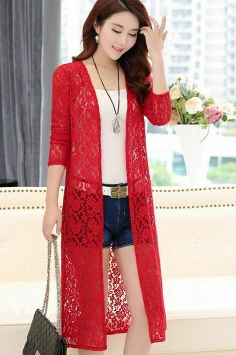 Women Bikini Cover-up Chiffon Lace Summer Cardigan Sun Protection Beach Coats red