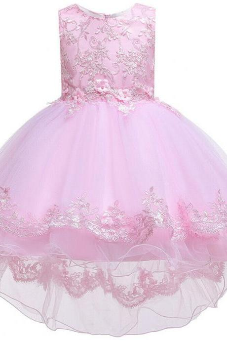 Sleeveless Kids Girls Bow Princess Tulle Dress Wedding Bridesmaid Birthday Gown pink