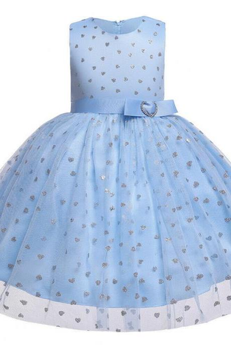 Cute Kids Girl Sleeveless Summer Lace Tulle Tutu Dress Wedding Pageant Gown 0-6Y light blue