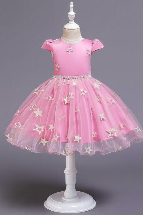 New Stars Beads Waist Girls Kid Princess Dresses Party Halloween Tutu Dress1-10Y pink