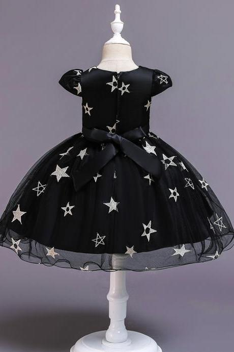 New Stars Beads Waist Girls Kid Princess Dresses Party Halloween Tutu Dress 1-10Y black