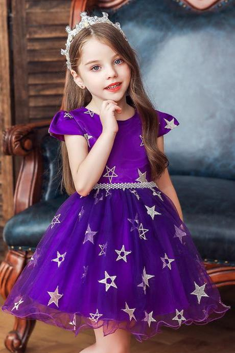 New Stars Beads Waist Girls Kid Princess Dresses Party Halloween Tutu Dress 1-10Y purple