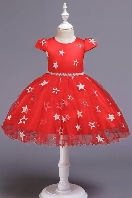 New Stars Beads Waist Girls Kid Princess Dresses Party Halloween Tutu Dress 1-10Y red