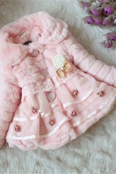 Kids Girls Winter Fur Coat Jacket Outwear Tops Sweet Thicken Warm Lapel Flower pink