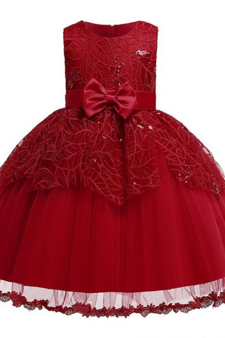 New Beads Girls Kid Laces Princess Dresses Party Formal Layer Dresses maroon