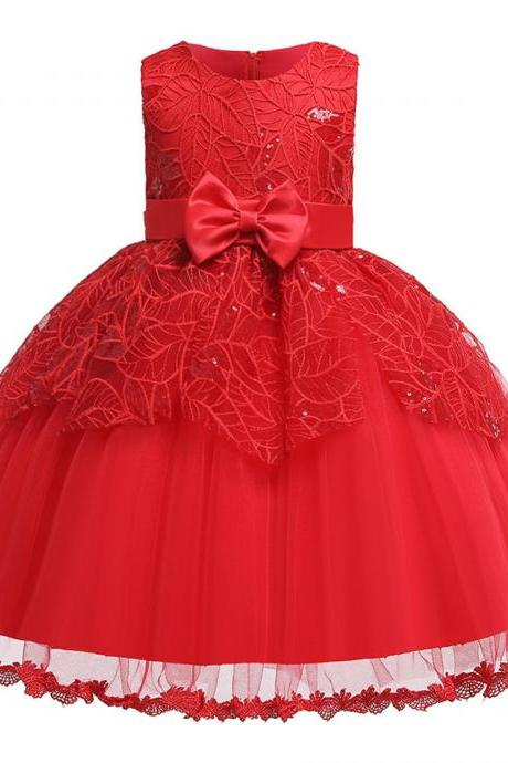 New Beads Girls Kid Laces Princess Dresses Party Formal Layer Dresses red