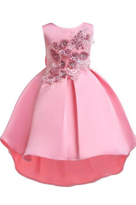 Baby girl flower dresses tutu kid bridesmaid formal dress party wedding princess pink