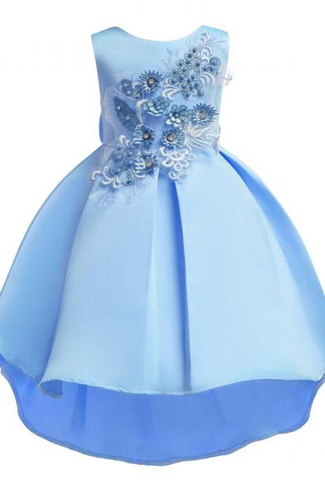 Baby girl flower dresses tutu kid bridesmaid formal dress party wedding princess blue