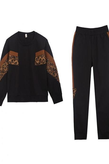 New casual fashion sports suit women's two-piece Long Sleeve Top+Pants clothing Tracksuit black+caramel