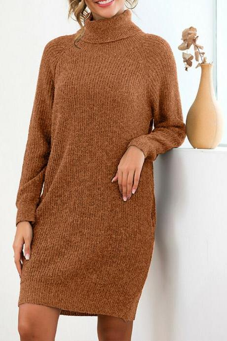 2019 Women's Loose Oversize Turtleneck Wool Long Pullover Soft Sweater Dress yellow