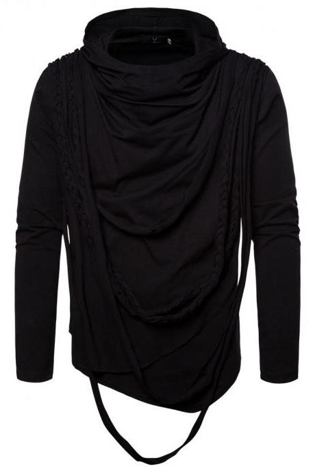 New Fashion Spring Autumn Winter Clothing Trend Long-sleeved Pullovers Men T Shirt Tops black