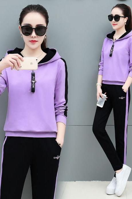 women's wear New Tracksuit casual fashion sportswear hoodie trousers two piece sets purple