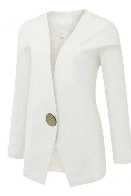 Women Casual Solid Buttons Long Sleeve Cotton And Linen Cardigan Loose Suit Coat white