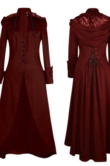 Women Vintage Tailcoat Jacket Steampunk Bandage Cape Irregular Outwear Long Coat wine red