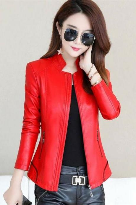 New Winter Jacket Women Leather Motorcycle Jacket Zip Jacket Short Coat Red