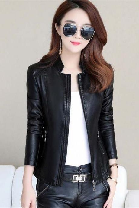 New Winter Jacket Women Leather Motorcycle Jacket Zip Jacket Short Coat black