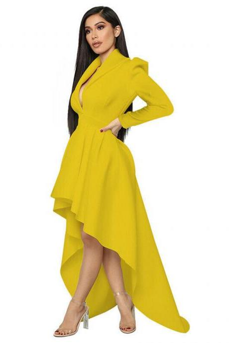 Women Long Sleeveless Cocktail Formal Prom Gown Deep V Evening Club Party Dress yellow
