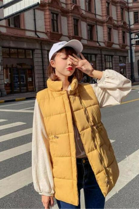 2019 Down Cotton Vest Women's Waistcoat Drawstring Waist Standing collar jacket yellow