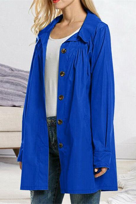 Women's Lightweight Open Front Raincoat Button Outdoor Casual Waterproof Jacket royal blue