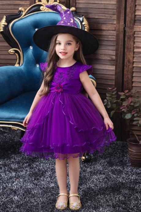 Christmas Flower Embroidery Baby Girl Wedding Dress Halloween Girls Party Kids Lace Bow Princess Elegant Clothing