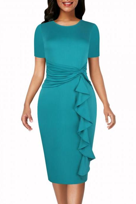 women Pencil dress O-Neck Short sleeve ruffled waist bow slim solid knee-length party dress