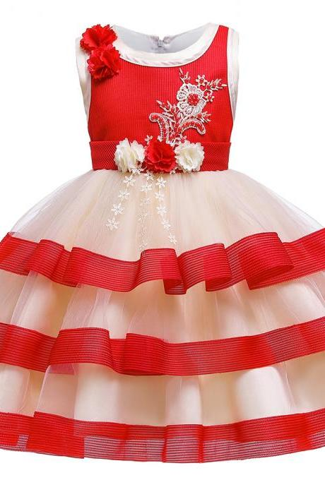 2019 Flower Girl Dress Kids Dresses Embroidery Children's clothing Layered Party Princess costume