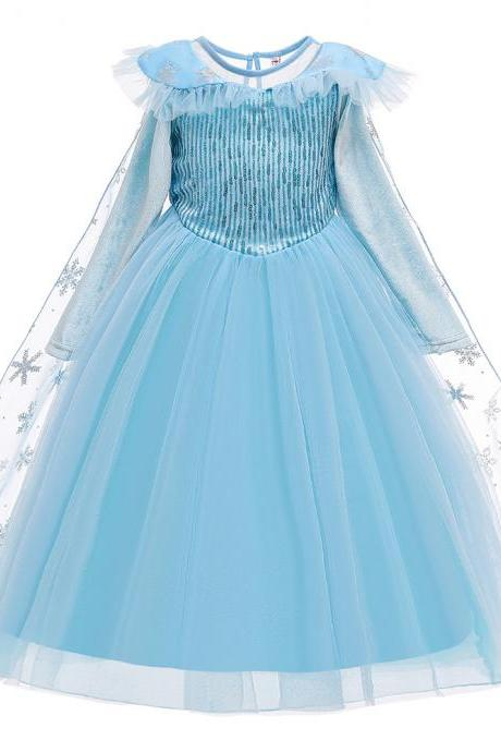 Autumn winter long sleeve dress girls sequins printed princess solid Halloween costumes