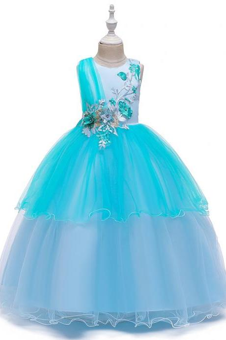 Elegant flower girl wearing a wedding banquet for a child beautiful demure princess formal dress