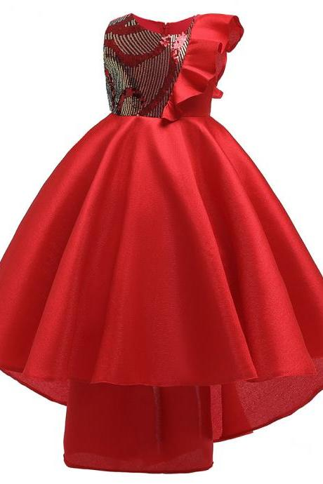 2019 Winter Ruffle Sleeve Girl Kids Dresses Clothing Pageant Evening Sequin Trailing Princess Clothes