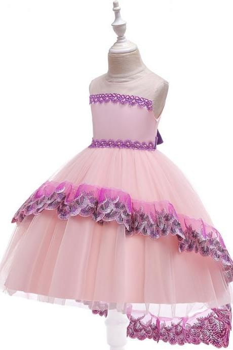 2019 Embroidery Trailing Dress For Girls Clothes Tutu Birthday Kids Dresses Party Wedding Girl Princess Dress