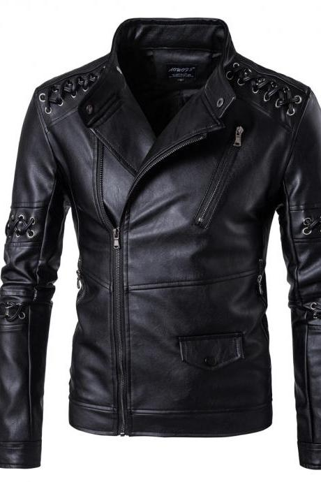 New Design Men PU Leather Jackets stand collarLong sleeves Braided Rope Motorcycle Leather Jacket Male Coat