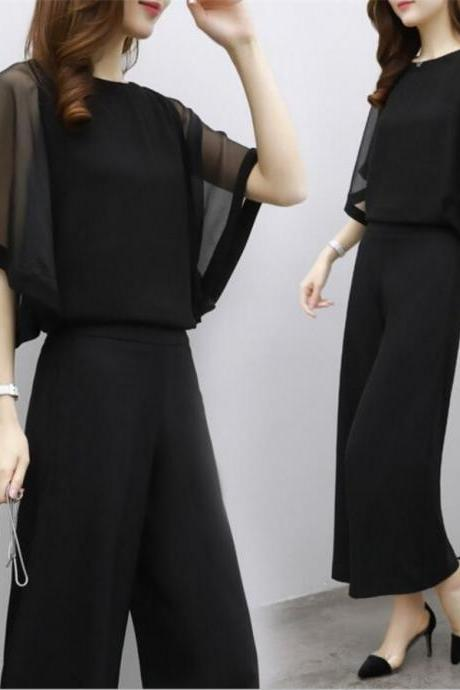 Woman Two piece sets Girl Plus Size Black Outfits Fashion Chiffon Tops+Loose Pants Clothes