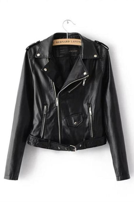 Spring autumn Women Coat new Faux Leather Jackets Casual Zipper Short Basic Motorcycle leather coat