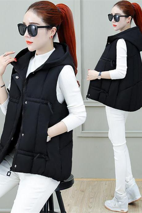 2019 New Womens Waistcoat Hooded Down Cotton Vest Short Jacket Sleeveless Coat