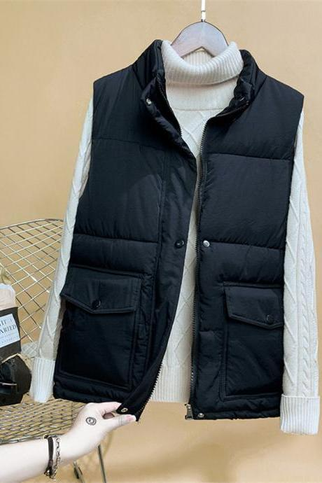 Autumn Winter Women Waistcoat Slim Down Cotton Warm Coat Jacket Sleeveless Vest