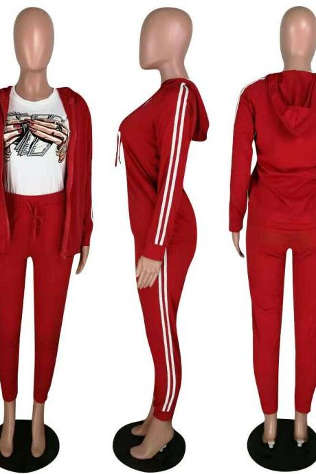 NEW Women's Stylish Long Sleeves Solid Color Drawstring Sporty Long Jumpsuit2pcs