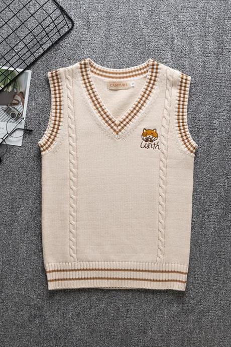 New cute puppy embroidery college style Japanese soft girl cartoon cute JK uniform color knitted vest