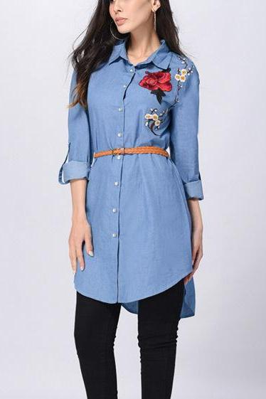 Women Long Sleeve Shirt Dress (With Belt) Embroidered lapel Shirt top