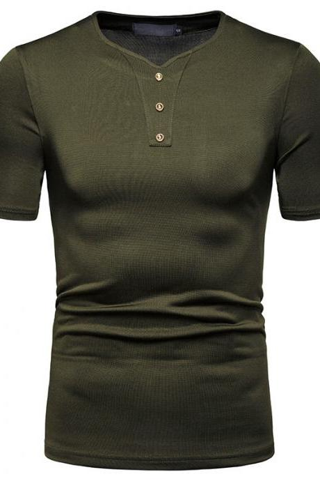 New Men T-Shir High Stretch Loose Short Sleeve Casual V-Neck solid Button tops