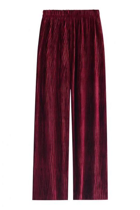 Autumn winter new Women pant high waist pleated gold velvet wide leg loose casual solid mopping trousers